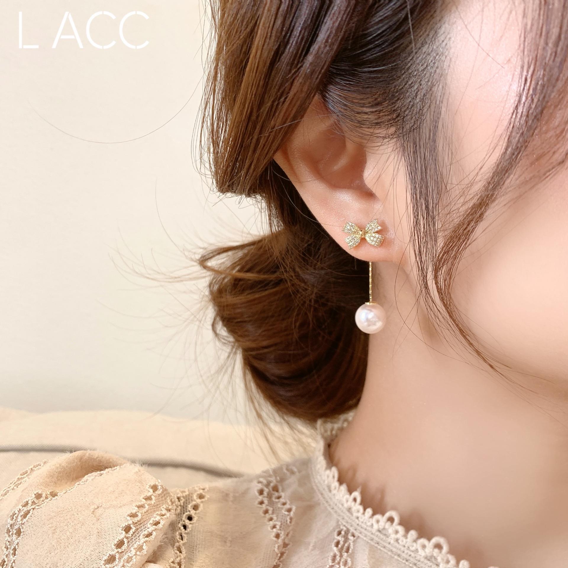韩国东大门代购蝴蝶结流苏 珍珠925银针 耳环 气质耳饰女修饰脸型