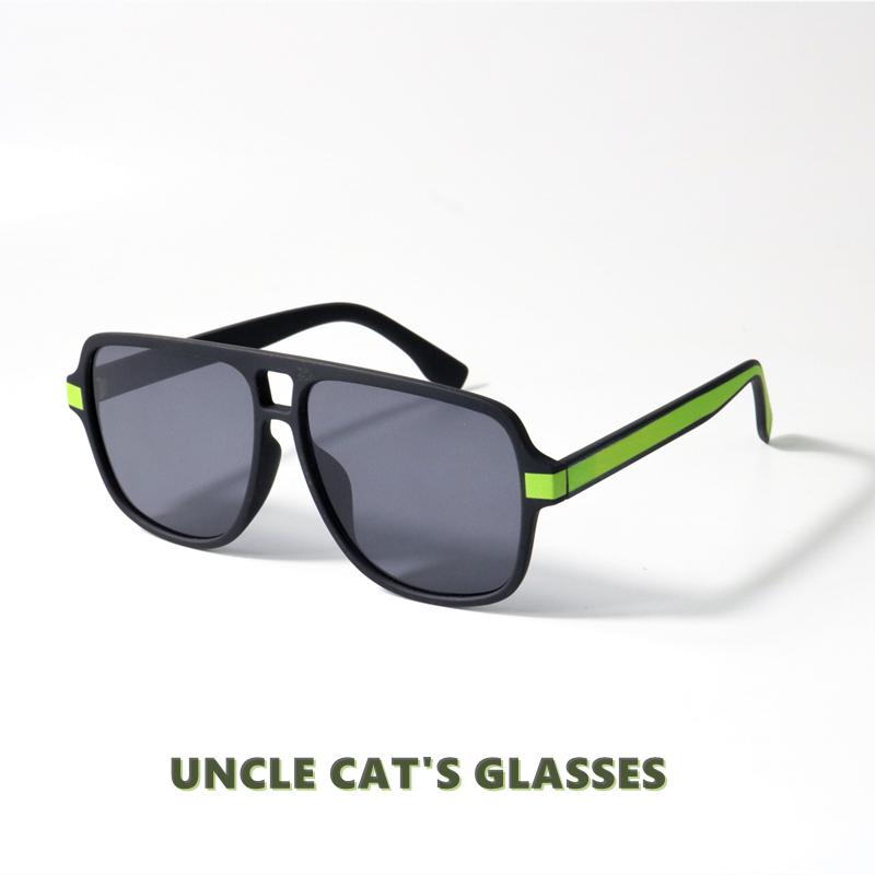 撞色设计磨砂框飞行员式墨镜大框修饰脸型可配近视中性潮太阳眼镜