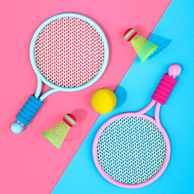 儿童羽毛球拍亲子互动男女孩运动球拍套装2-3岁4宝宝室内网球玩具