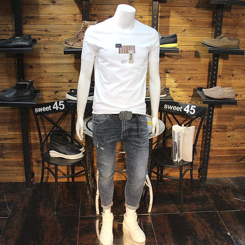 简单贴布刺绣男T恤21新款夏季修身圆领纯棉舒适短袖百搭夏装半袖