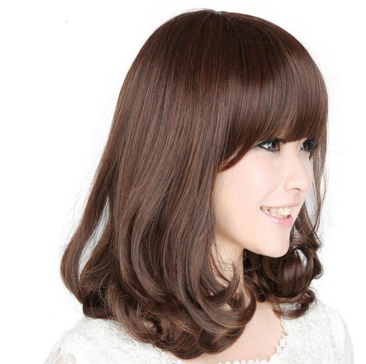 2021流行发型女梨花头假发中长款大头皮烫短发造型全头斜刘海可爱