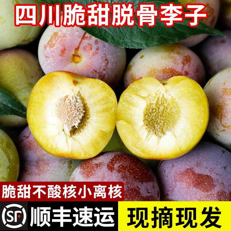 李子新鲜现摘当季整箱水果5斤大果半边红四川脆甜脱骨李茵半边红