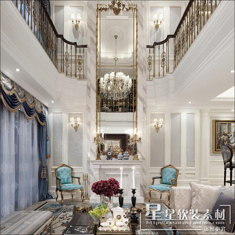 182套法式风格别墅样板房室内设计案例作品平层豪宅装修效果图片