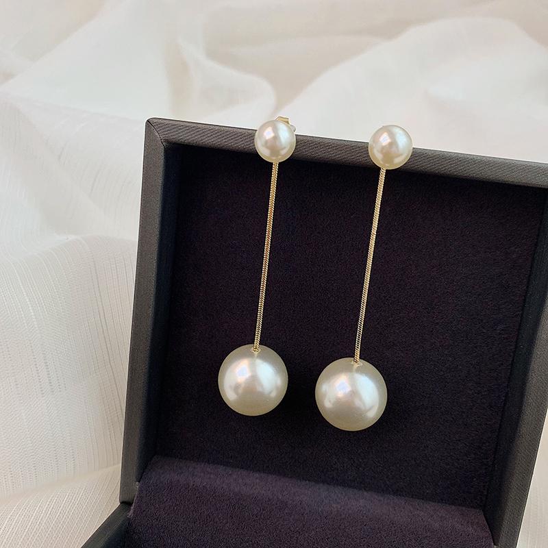 珍珠流苏显脸瘦的耳环长款个性网红超仙耳坠链条夸张气质女耳饰品