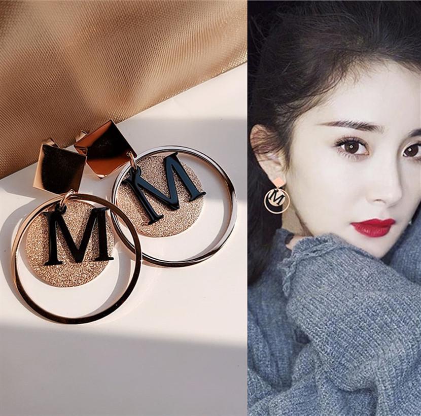 韩国百搭防过敏钛钢耳钉长款几何字母显脸瘦的耳环网红夸张耳饰女