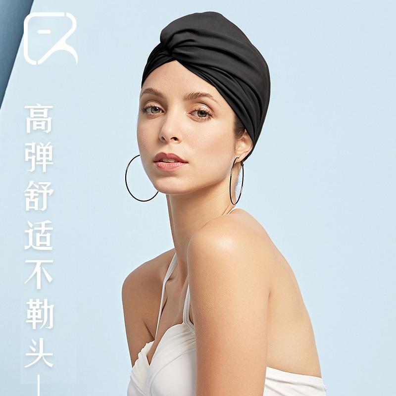 飞鱼未来泳帽女长发布料舒适不勒头时尚护耳防晒温泉游泳帽显脸小
