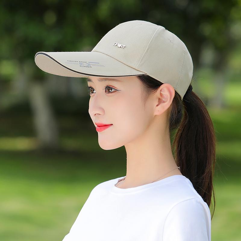 帽子女夏遮阳鸭舌帽时尚百搭潮薄款长帽檐棒球帽太阳帽女防晒遮脸
