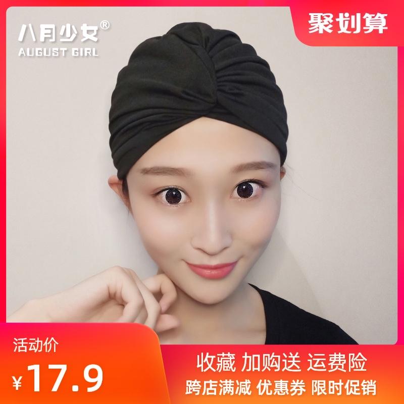 泳帽女长发专用不勒头可爱韩国日系显脸小大头围黑色成人潮款布料