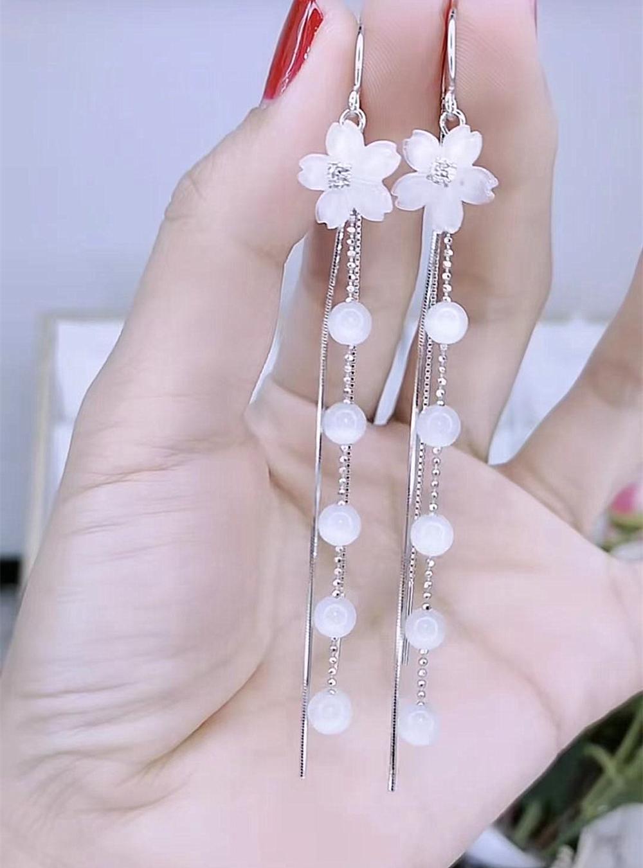 日韩长款花朵s925银针耳线防过敏气质流苏耳环网红爆款显脸瘦耳饰