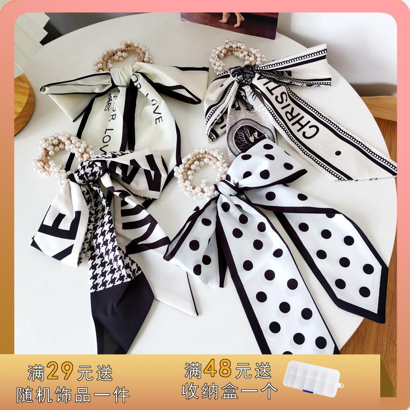 气质法式赫本风飘带发绳复古时尚ins风淑女珍珠发圈扎头绳女发带