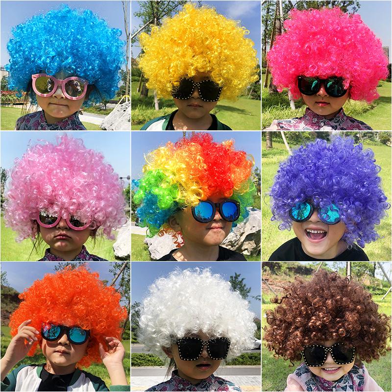 儿童彩色爆炸头假发幼儿园装扮婚庆搞笑小丑头套表演道具演出发套
