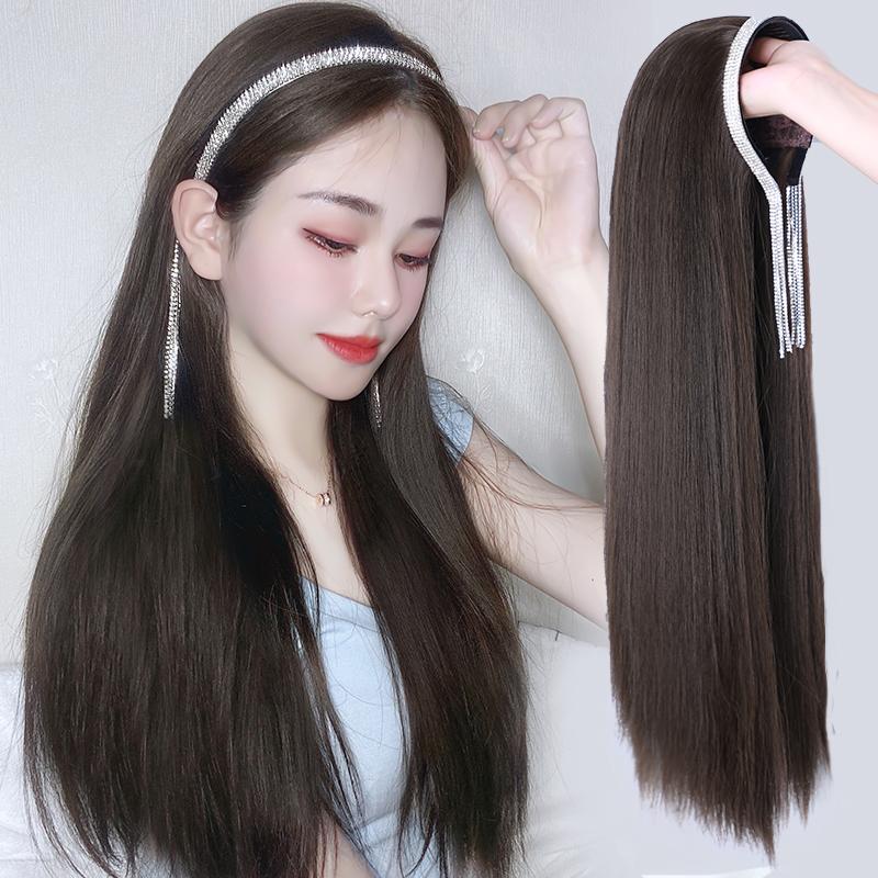 假发女长发水晶发箍U型半头套可拆卸长直发自然无痕仿真发全头套