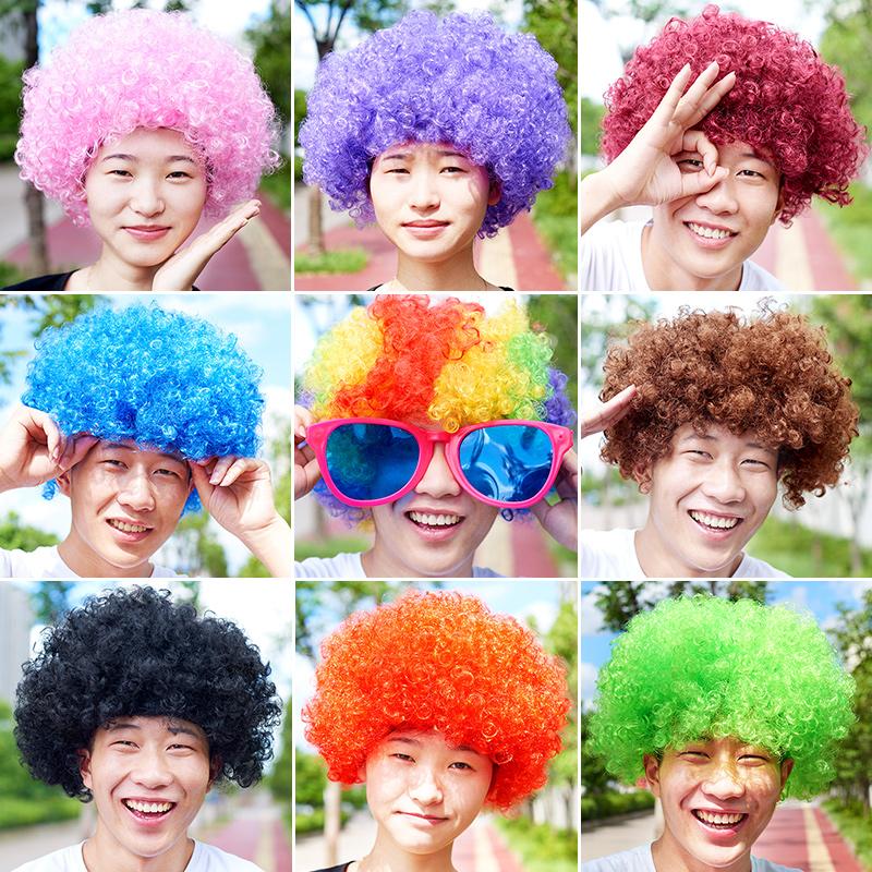 万圣节小丑儿童假发头套彩色爆炸头七彩表演道具搞笑头套演出发套