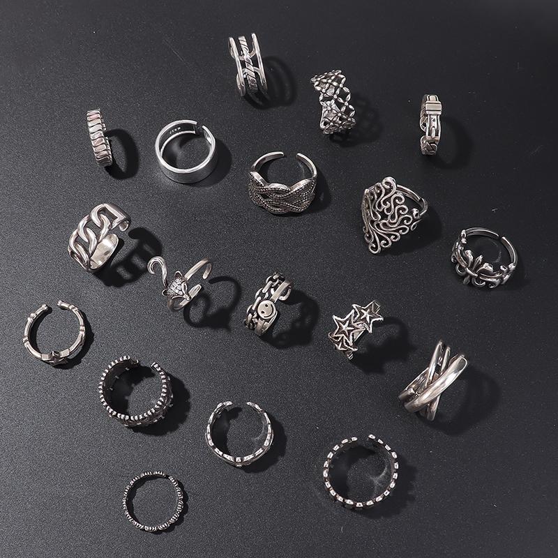 可调节戒指时尚个性女复古ins冷淡风食指环小众设计潮男开口指环