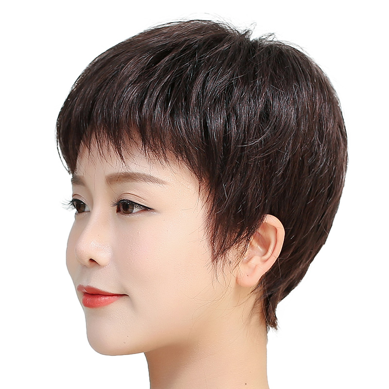 假发短发女全头套仿真女士中老年妈妈真发全真人发自然夏发型直发