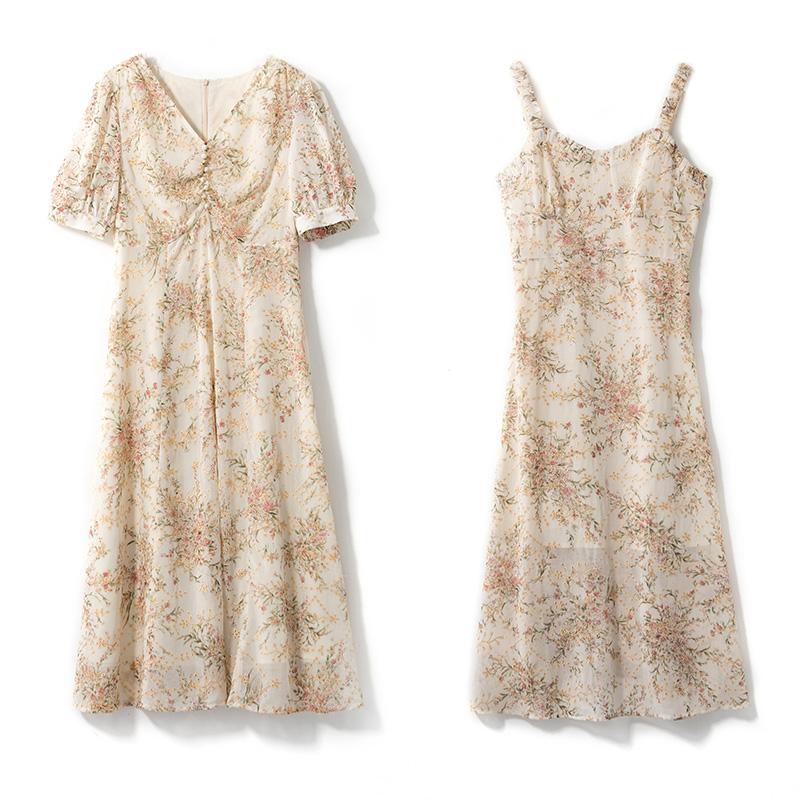 烈儿Lierkiss【想见你】裙子夏季超仙显瘦法式吊带碎花连衣裙9F26