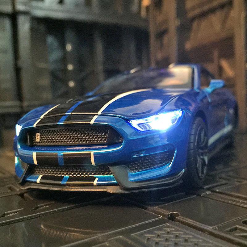 1:32仿真福特野马谢尔比眼镜蛇合金汽车模型金属GT350超跑玩具车