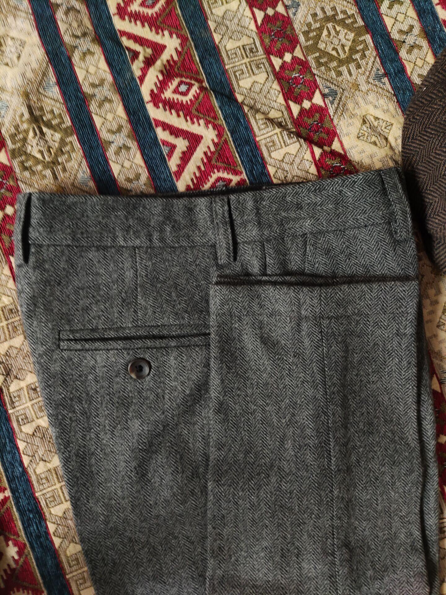 谢尔比同款男英式复古羊毛粗花呢西裤Tweed欧美黑色休闲直筒长裤