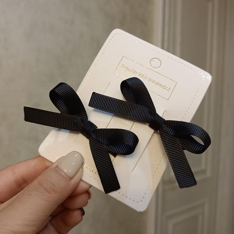 豆妈原创设计韩式简单气质儿童黑色小蝴蝶结对夹边夹发卡刘海夹