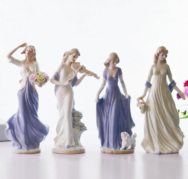 欧式西洋美女创意人物摆件陶瓷工艺品现代家居客厅摆设卧室装饰品