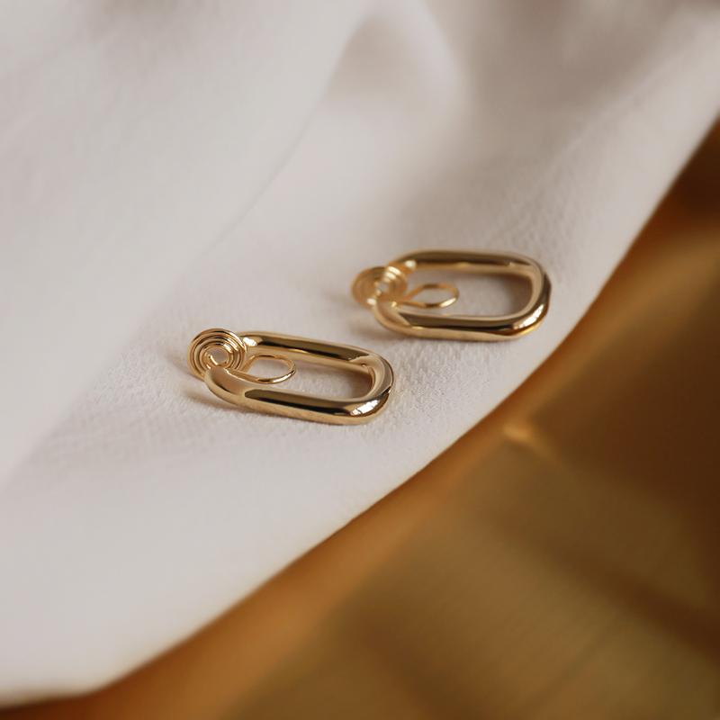 蚊香盘耳夹无耳洞耳圈耳饰高级感耳环性冷淡风简约欧美女金色银色