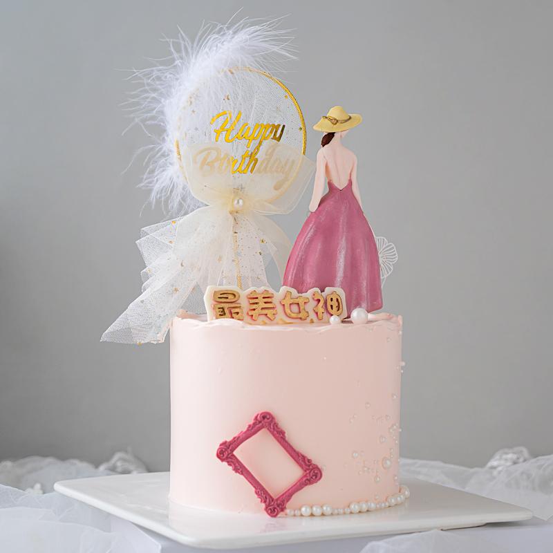 母亲节蛋糕装饰美女女神时髦女郎背影硅胶模具插件情人节生日摆件