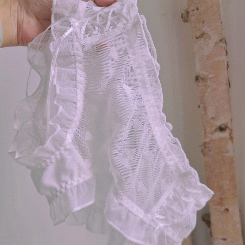 微醺半夏~法式性感蕾丝女内裤镂空绑带波点甜美女士三角裤薄款夏