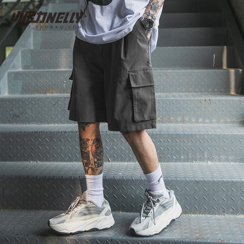小尼力ins男生工装裤夏季百搭直筒短裤薄款裤子宽松五分牛仔裤bf