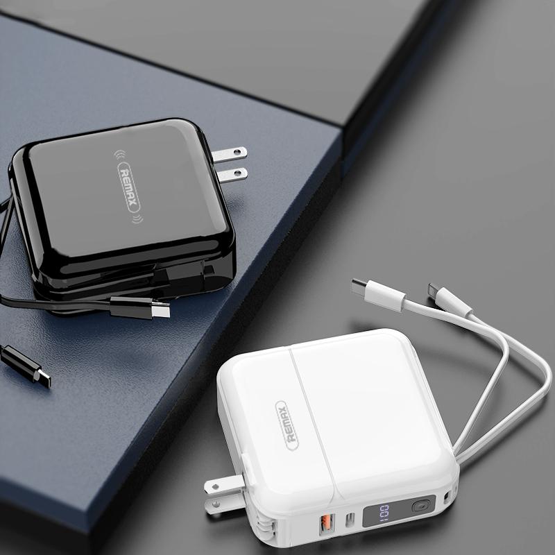 Remax自带线充电宝带插头三合一20000毫安超薄快充插座无线移动电源超大容量适用苹果专用小米可上飞机的手机