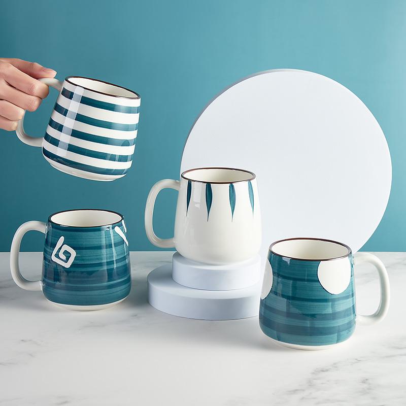 日式马克杯带盖勺大容量家用陶瓷杯子夏季办公室女男生喝水杯茶杯