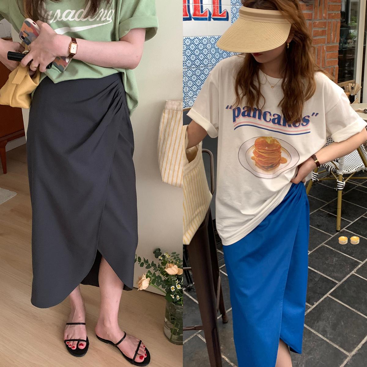 im向自制 2021新款韩版慵懒风不规则设计感褶皱斜开叉气质半身裙