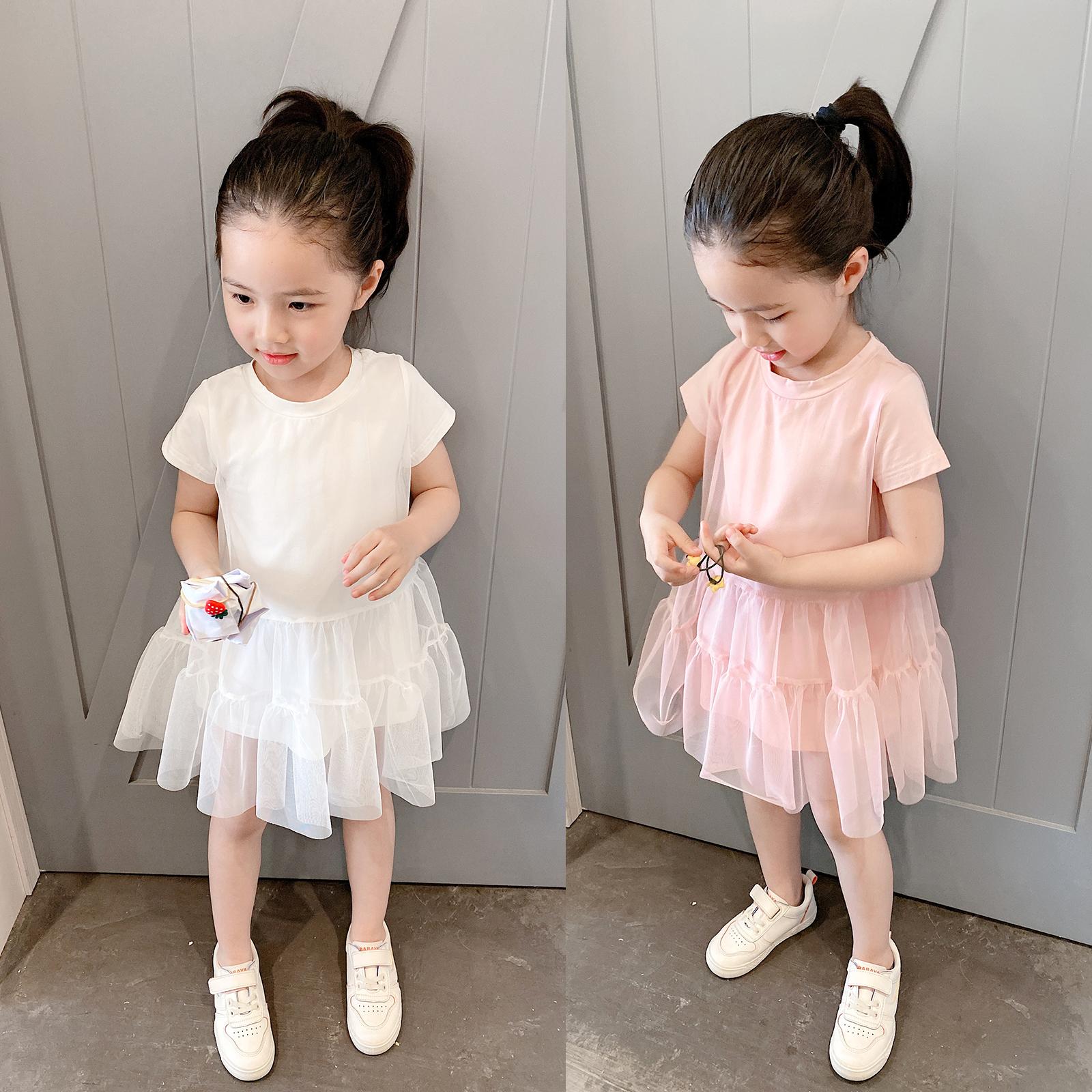小小公主裙 儿童纯棉短袖连衣裙 女童纯色纱裙 中小童 薄款 夏款