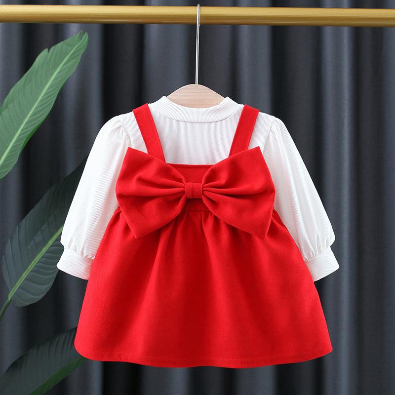 女宝宝生日公主裙1春秋婴儿周岁礼服2洋气红色裙子3小女童连衣裙