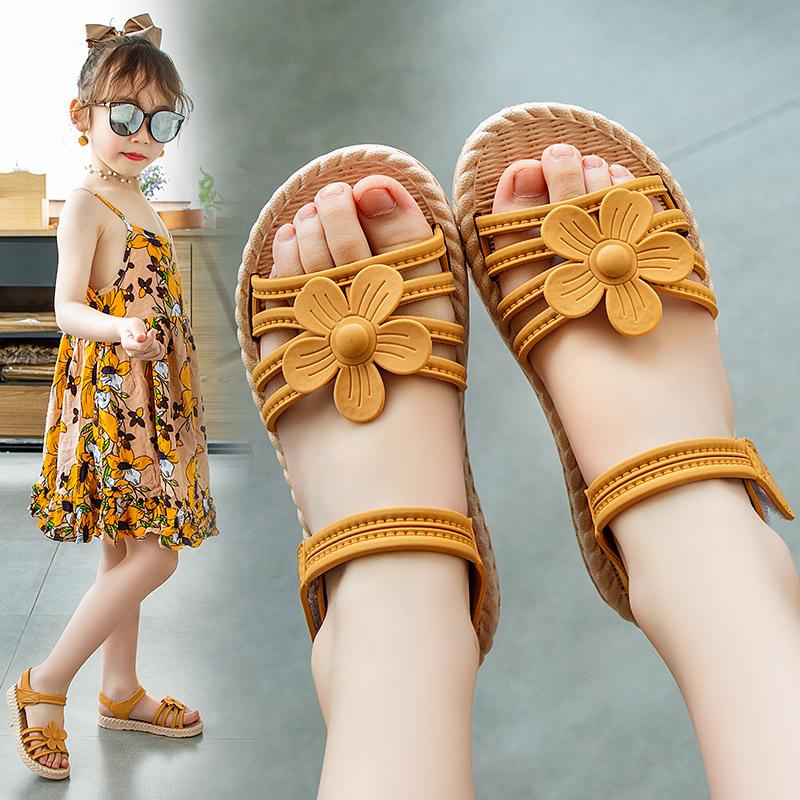 女童凉鞋2021新款时尚夏季中大童女生公主鞋小女孩子软底沙滩鞋子