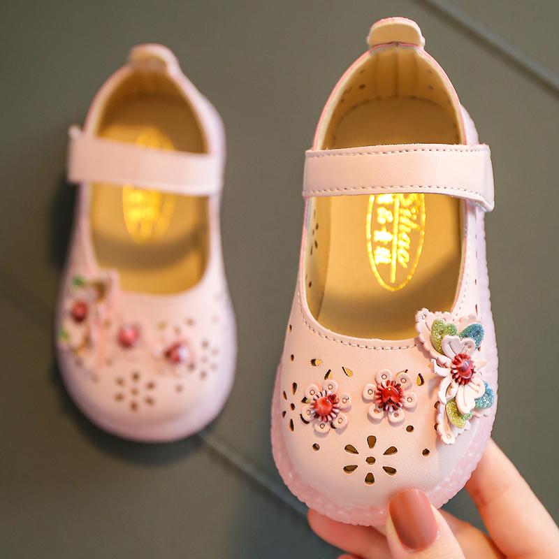 女童宝宝小皮鞋春夏镂空婴幼儿学步公主鞋软底防滑小童单鞋豆豆鞋