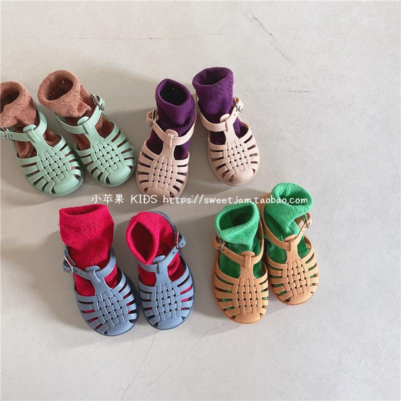 2021夏男女童宝宝果冻色复古凉鞋儿童公主风小童软底宝宝包头凉鞋