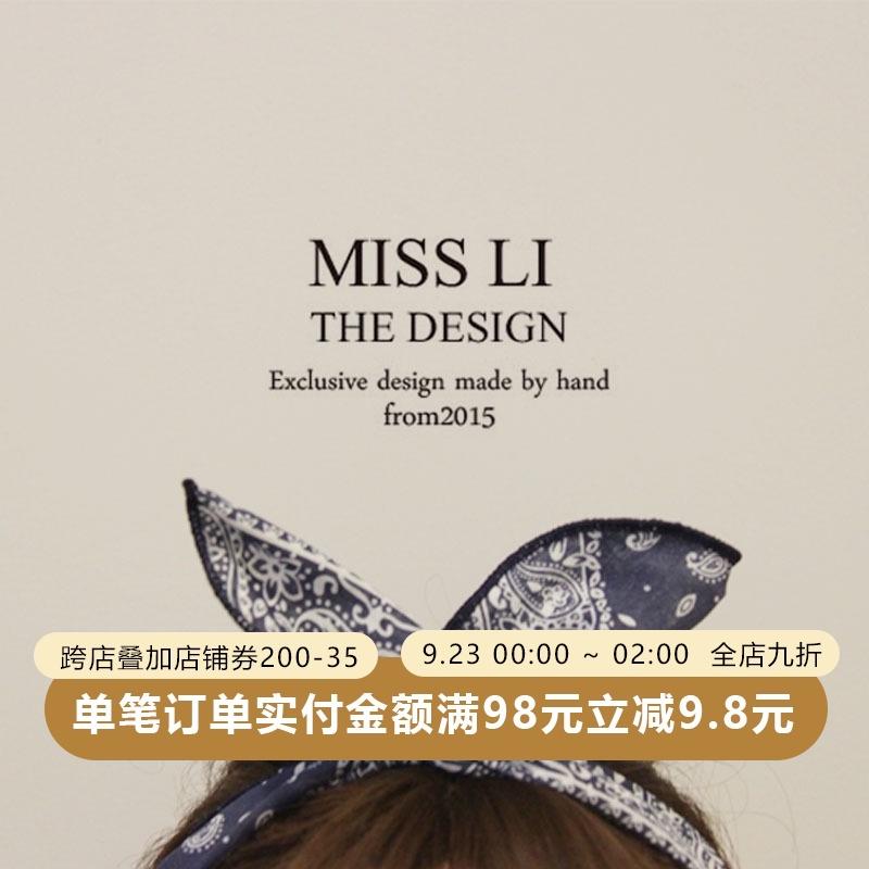 702M2018新款韩国头饰布艺复古图腾印花蝴蝶结发箍短发可爱民族风