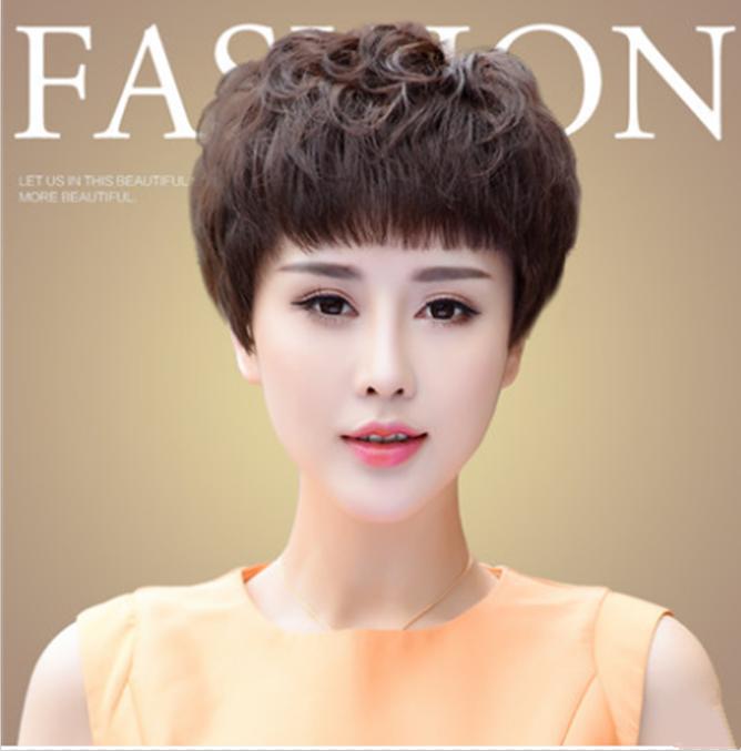 2021整体时尚假发女士短卷发气质时尚女中老年真发中年短发女假发