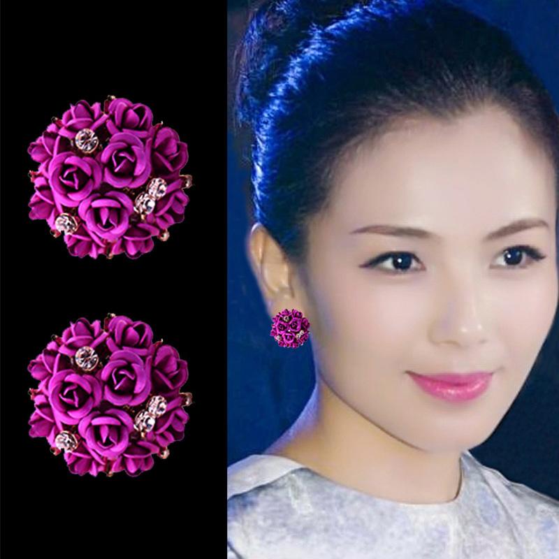 玫瑰花朵耳钉女时尚气质韩国百搭925银针耳环2021新潮款短发耳坠