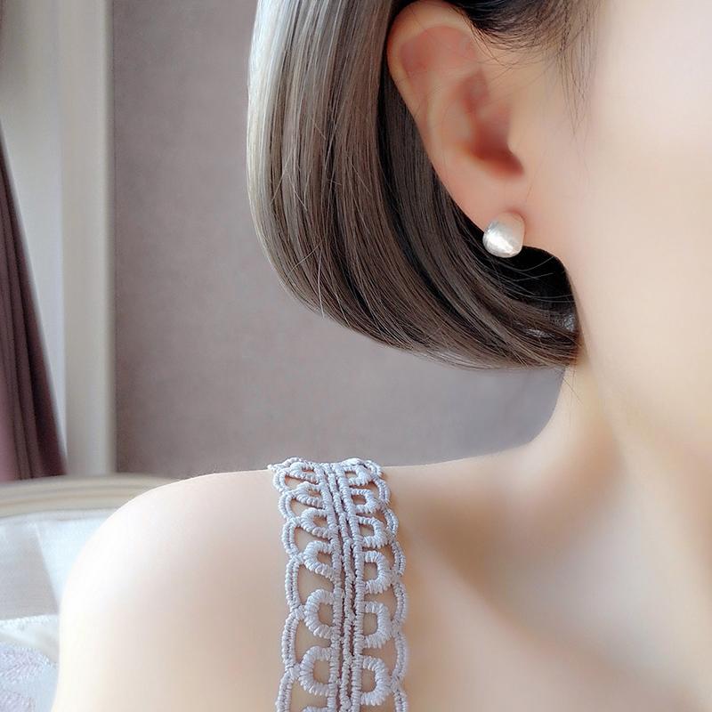 纯银耳钉女夏小众2021新款潮气质拉丝简约时尚圆脸短发耳环高级感