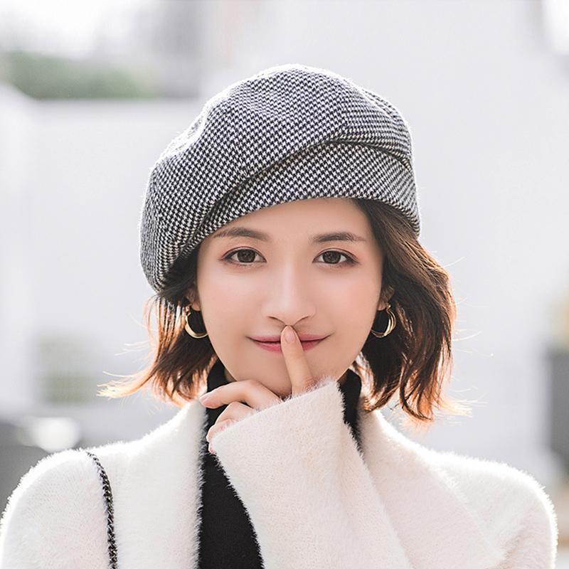 帽子女春秋百搭时尚短发适合2021新款女士薄款秋冬韩系八角贝雷帽