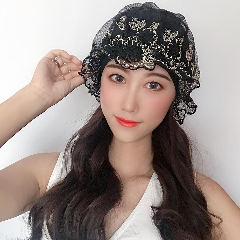 2021新款韩国蕾丝泳帽女pu布料微防水长短发护耳不勒头时尚泡温泉