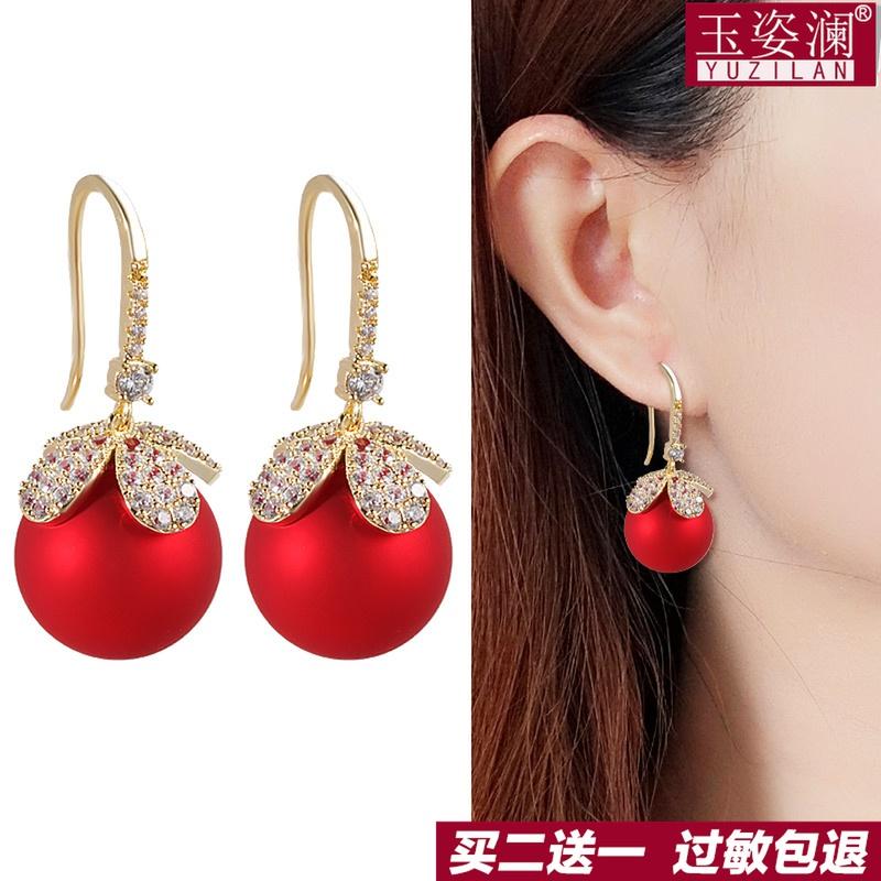 玉姿澜时尚红球耳环2021年新款潮气质短发耳钉红色耳坠圆脸耳饰女