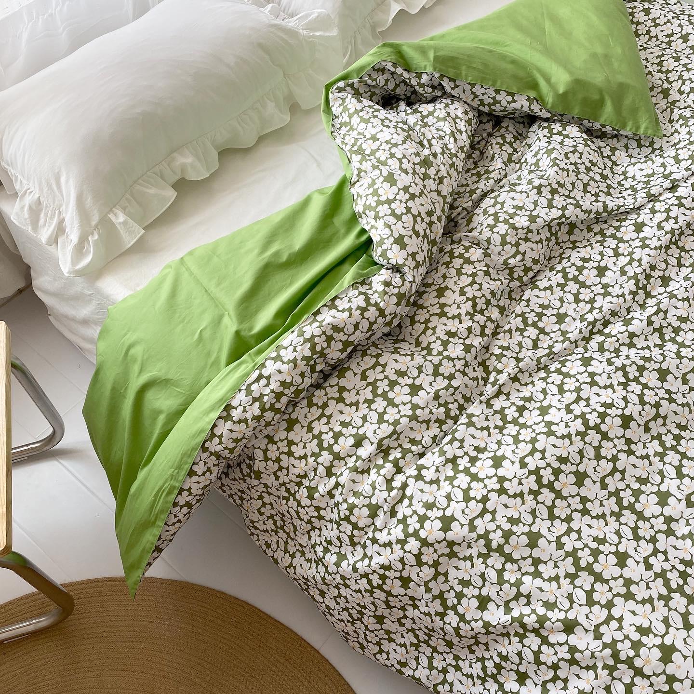 想见你!春夏の幸福感绿底小碎花朵 全棉斜纹单件被套被罩 可定制