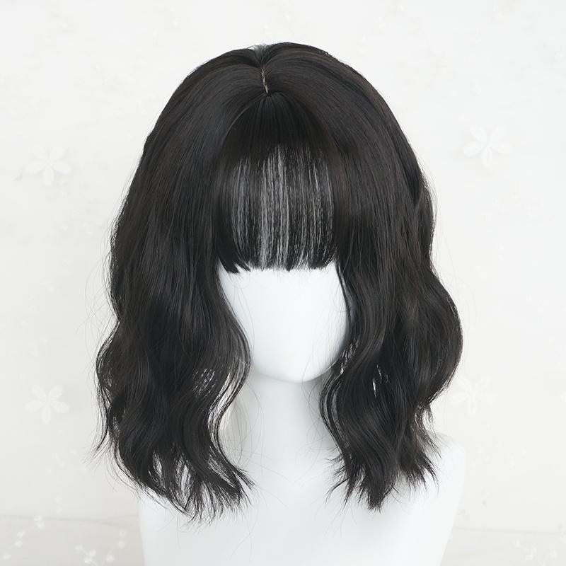 假发女短发短卷发修脸蓬松空气刘海自然黑玉米烫圆脸蛋卷头假发套
