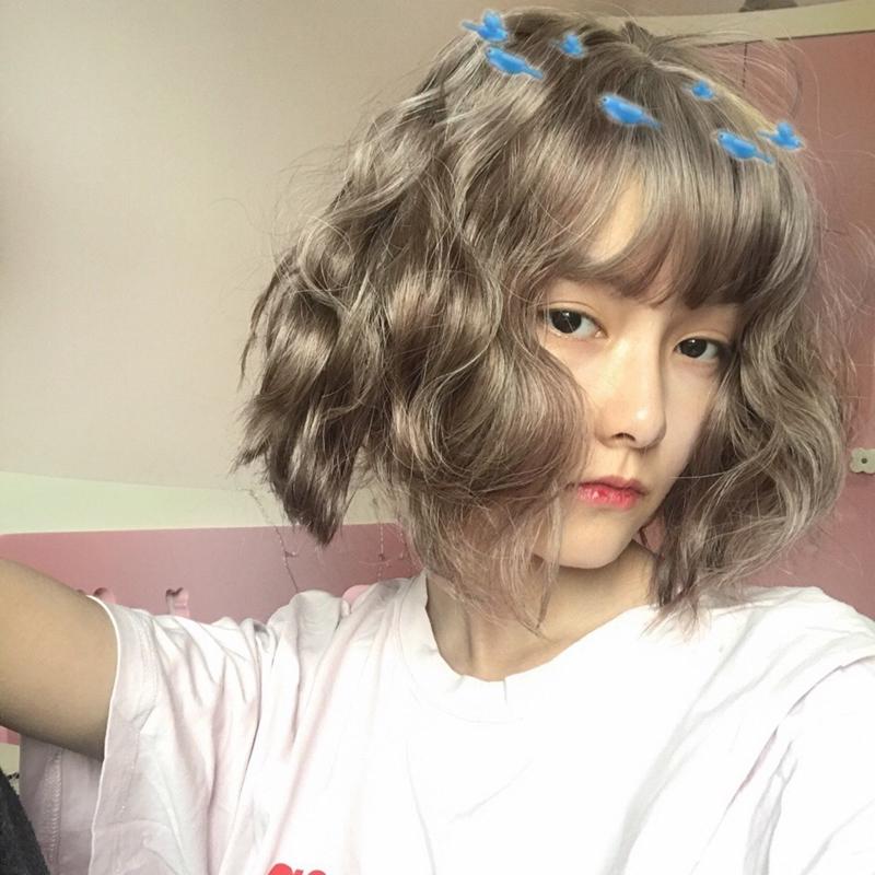 隐形无痕空气刘海假发女 复古奶奶灰色蛋卷发假毛 个性泡面烫短发