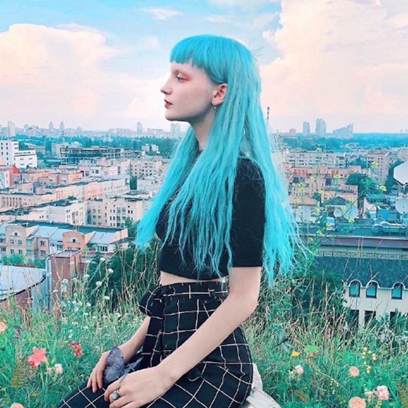 贝儿网红空气刘海玉米烫泡面假发女长卷发自然全头套式水蓝色天蓝