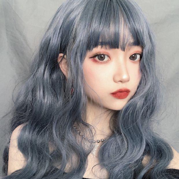 雾霾蓝灰色假发女中长卷发网红空气刘海玉米烫羊毛泡面小卷全头套
