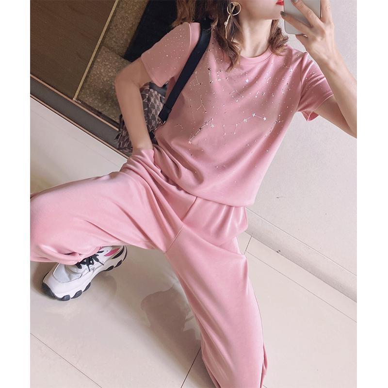 【银河系套装】壹锦柜空气烫钻星星T恤裤子两件套女太空棉T2187