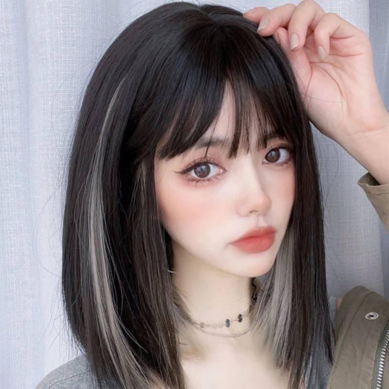 时尚卷发少女圆脸2021年流行仿真假发短发u发型中老年修脸刘海整